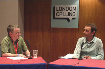 Karl Hyde of Underworld photographed in conversation with Andrew Harrison of Mixmag by MC Rebbe