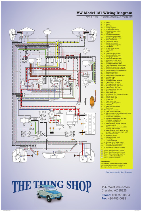 VW THING WIRING DIAGRAM POSTER - THE THING SHOP