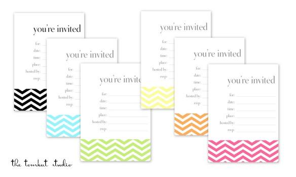 HGTV} Free Printable Chevron Invitations  Favor Tags in 6 Colors