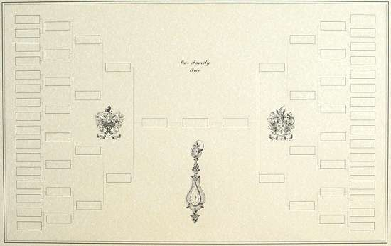 Blank Family Tree Example Chart with Decorative Artwork - family tree example