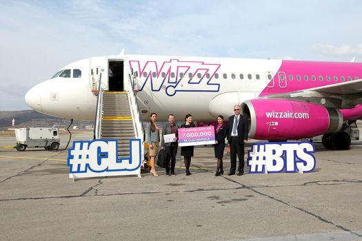 Wizz Air, 7 milioane de pasageri transportaţi din şi spre Cluj-Napoca și rută nouă