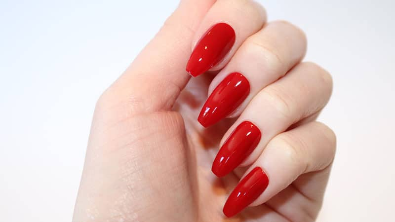 Drawn Nail Long 3 Dark Red Coffin Nails