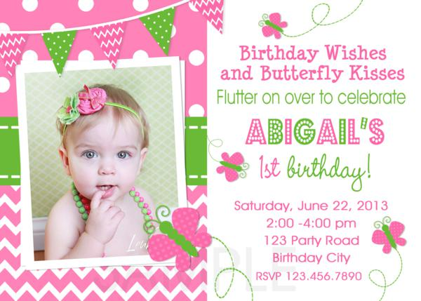Printable Birthday Party Invitations , 1st Birthday Butterfly , Pink
