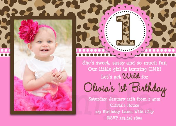 Leopard Printable Birthday Invitations, Girls Leopard 1st Party,