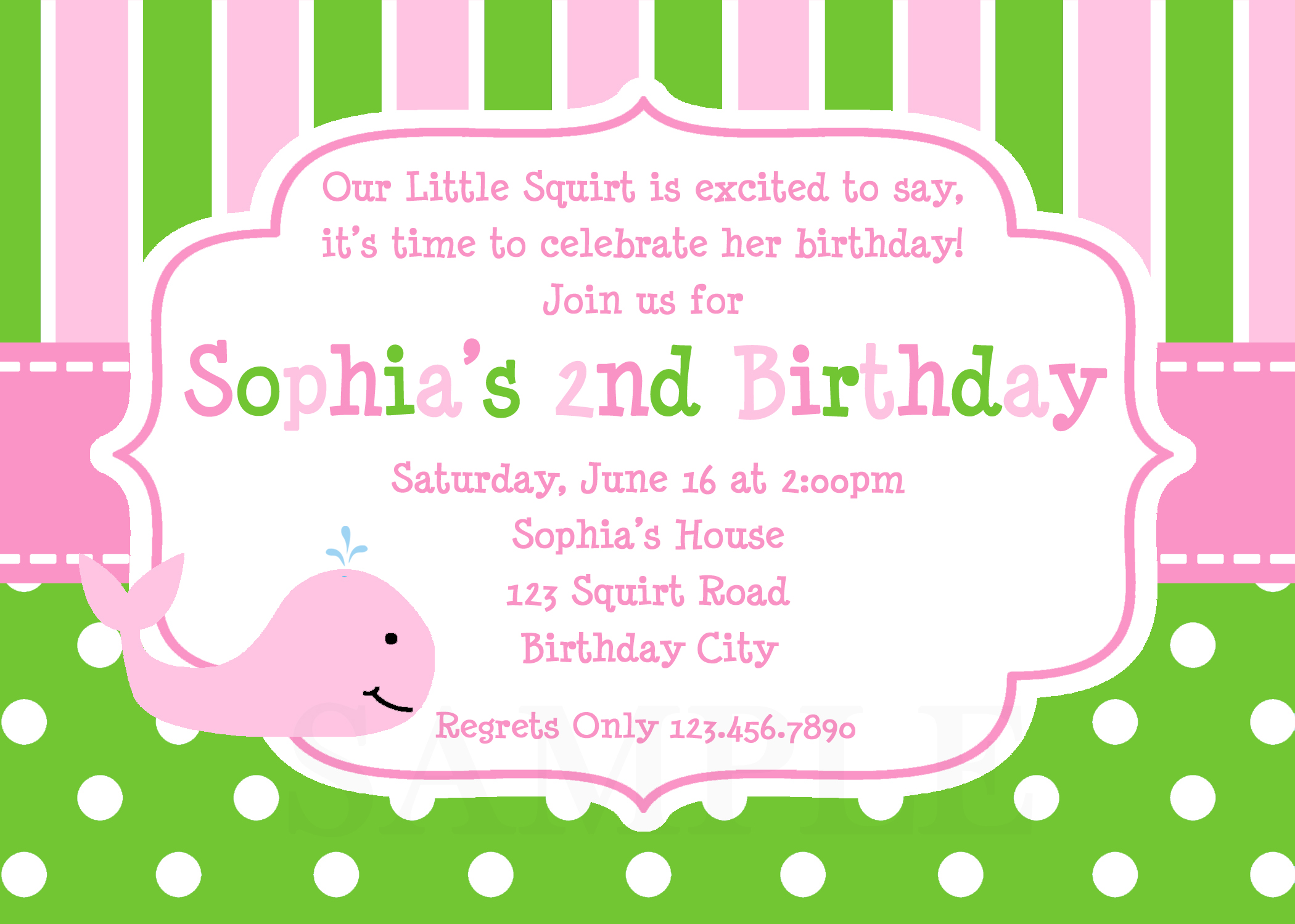 Printable Birthday Invitations Girls Whale Party