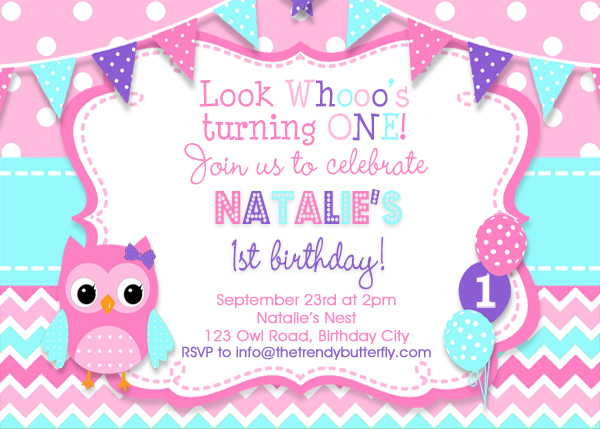 Girls Owl Birthday Invitation , Girls 1st birthday Invitation , Pink