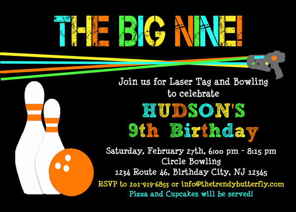 Laser Tag Bowling Invitation, Laser Tag Birthday Party, Invitation, Kids