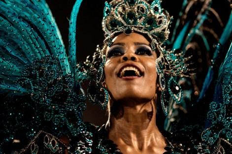 Revellers of Unidos da Tijuca samba school perform during the first night of the carnival parade at Sambadrome in Rio de Janeiro, Brazil on February 8, 2016. AFP PHOTO / YASUYOSHI CHIBAYASUYOSHI CHIBA/AFP/Getty Images