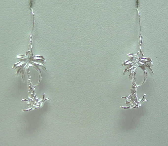 925 Sterling Silver Palm Tree Jewelry Pendants, Earrings