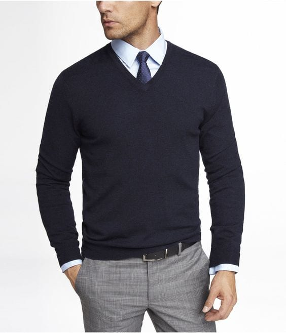 Black V Neck Sweater With Tie 37
