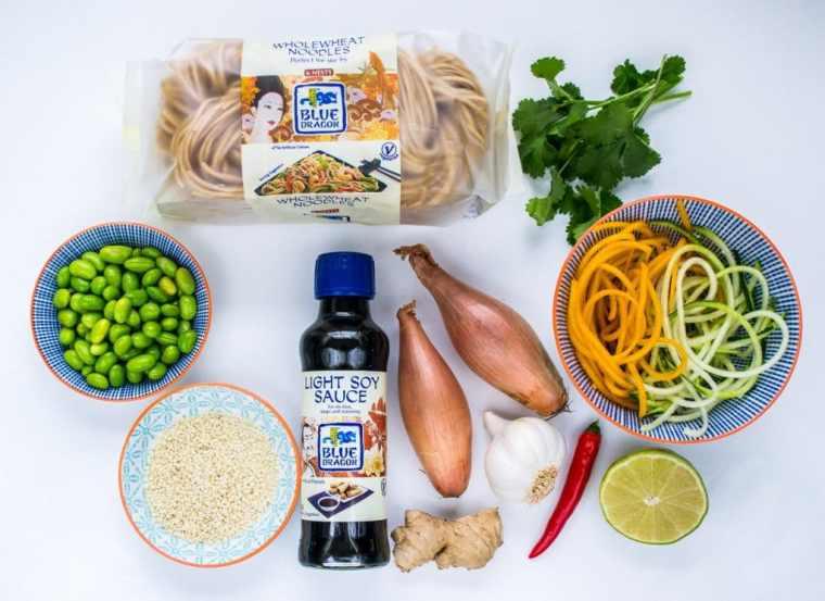 Spicy Sesame & Edamame Noodles - ingredients