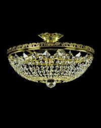 Low ceiling crystal basket chandelier