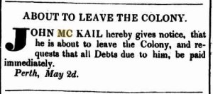John McKail leaving the colony 2.5.1835
