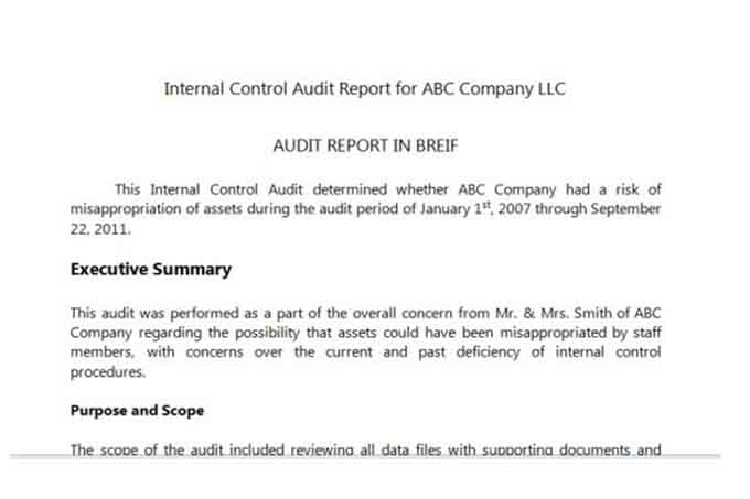 Internal Audit Report Internal Audit Report Internal Audit Report - audit report