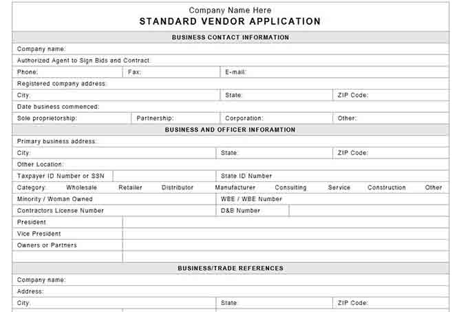 Company credit application form template