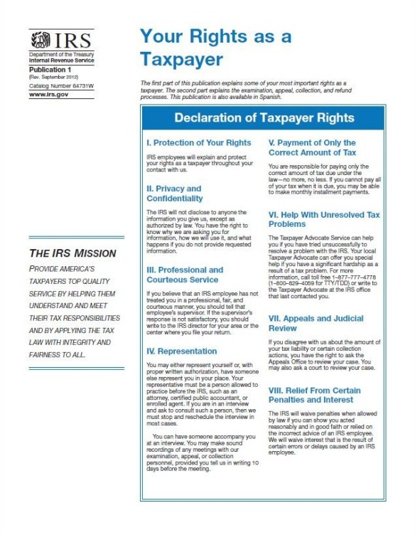 IRS Publication 1 Your Rights as a Taxpayer side 1