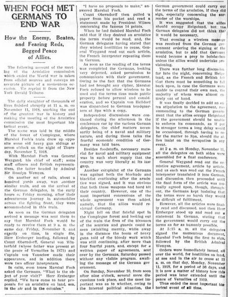When Foch Met Germans to End War An Account of the Armistice from New York Herald Tribune 1918 November 11 Day First World War I 1