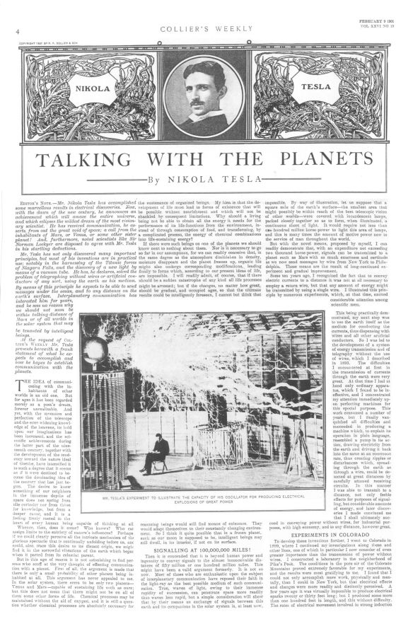 1901 02Feb 09 Collier's Weekly Talking with the Planets by Nikola Tesla