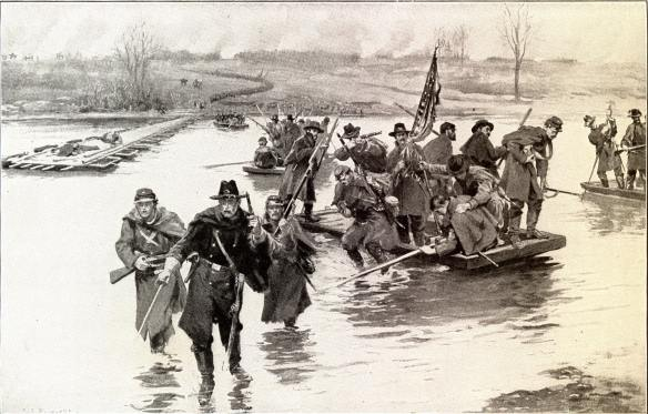 Battle of Fredericksburg 1862 December 11 US Civil War Union volunteer soldiers crossing Rappahannock River