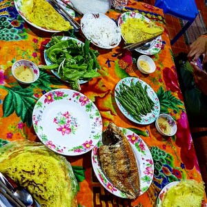 The lavish meal our homestays cooked for us during our overnight stay on the Mekong Delta
