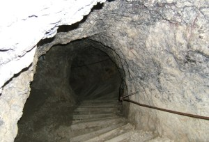One of the tunnels built into the Lagazuoi mountains