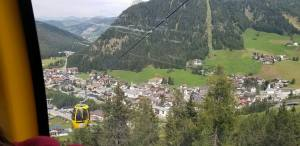 The view of Corvara from the gondola's descent