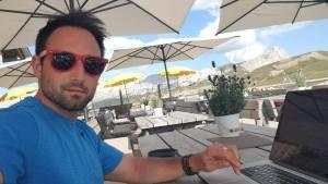 Working with good Wifi at Rifugio Pralongia