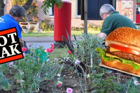 Earn-a-burger with TOTRAK in a garden