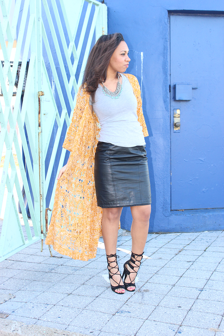 Gray T-shirt, Statement Necklace, Leather Skirt, Lace Up Sandals, Forever21, GAP