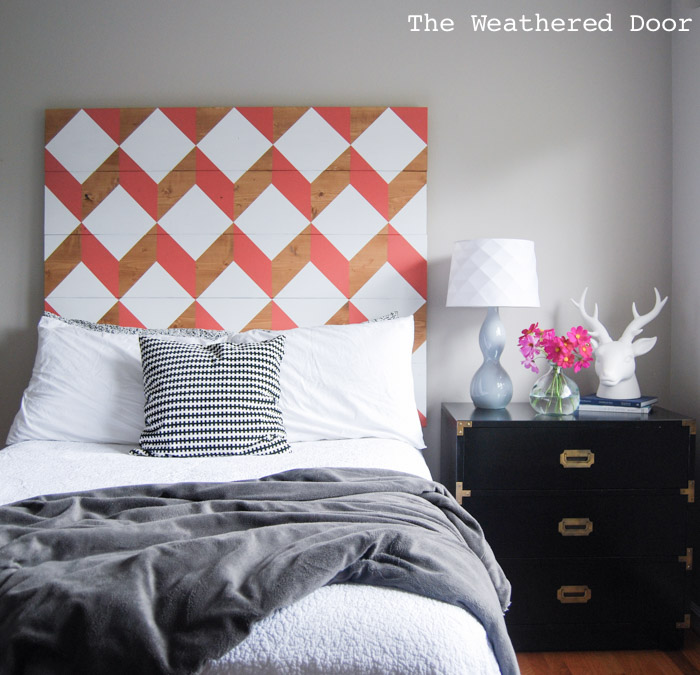 coral geometric headboard tutorial | from The Weathered Door wd-10