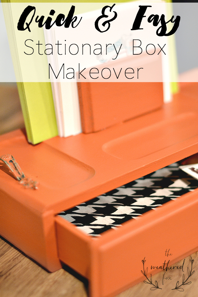 Stationary Box Makeover. A twenty minute thrift store makeover. DIY Chalkpaint Recipe & a inexpensive way to add a fun drawer liner.