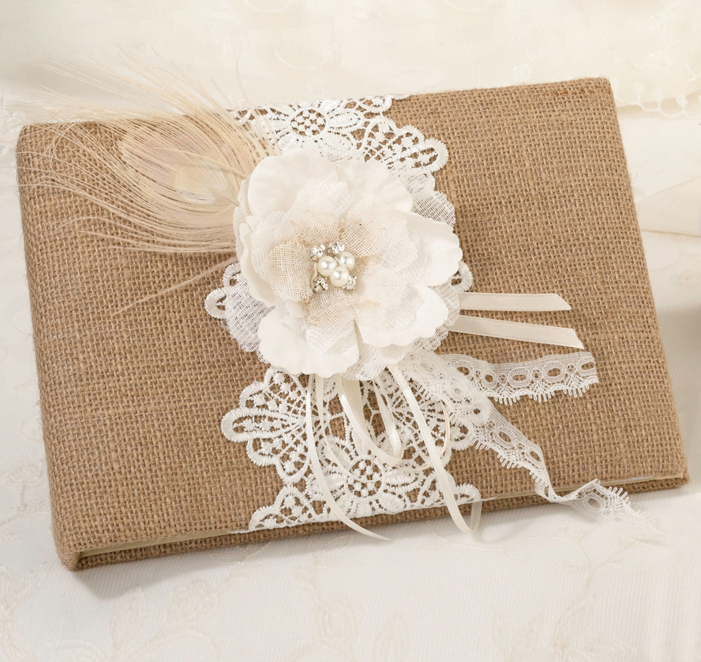 Burlap  Lace Wedding Guest Book Rustic Guest Book - guest books wedding
