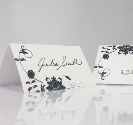 Floral Orchestra Wedding Place Cards Personalized Place Cards