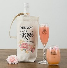 Floral Personalized Canvas Wine Tote Bag