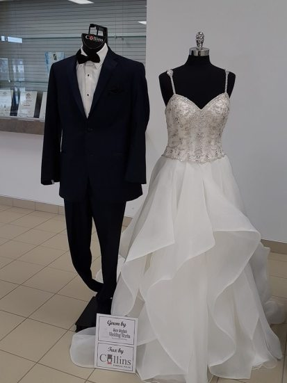 Tux: Collins Formal Wear | Gown: Sew Stylish Wedding Works