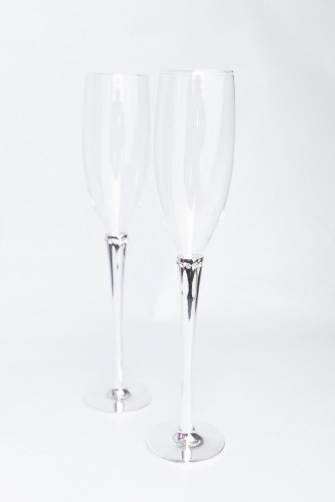 GLASS FLUTES WITH SILVER STEMS & RING OF CRYSTALS $46 + $12 to Engrave