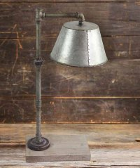 Industrial Pipe Table Lamp with Galvanized Shade - The ...