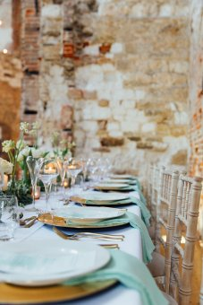 Our matte gold cutlery table settings on hire at Lulworth Castle