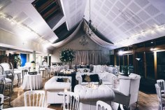 Our white leather chesterfield sofas and white cheltenham chairs on hire at Larmer Tree Gardens
