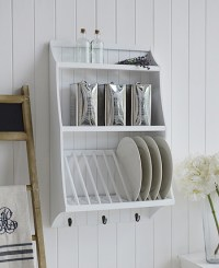 White kitchen plate rack for plates with shelf The White ...