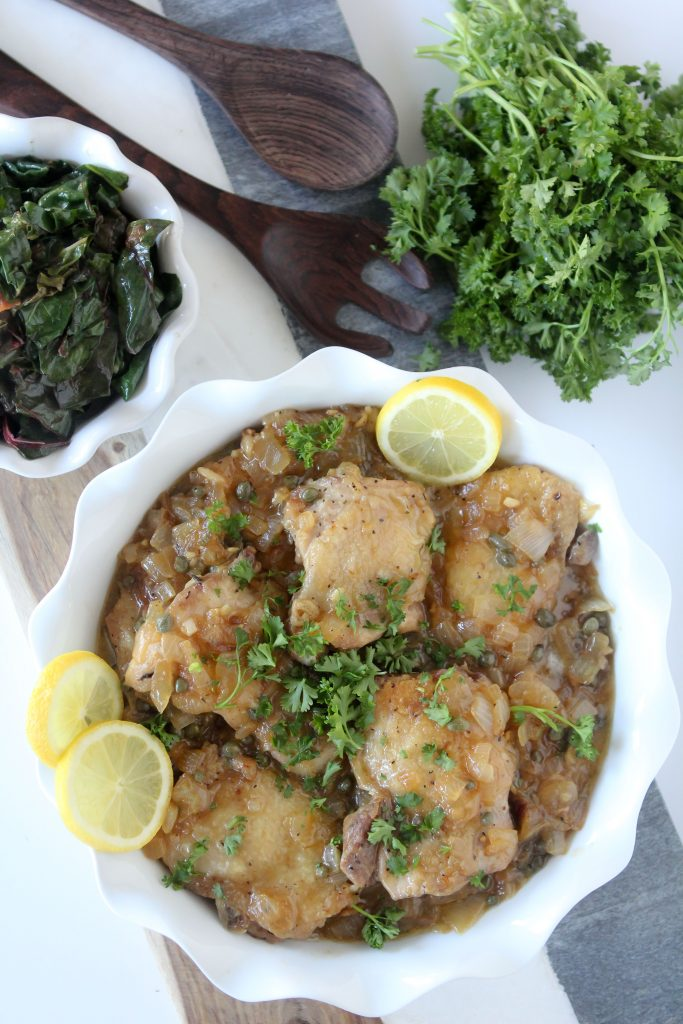 Chicken Piccata + Braised Rainbow Chard from the Whole Smiths. And easy to make one-pan meal that's paleo friendly, Whole30 compliant, gluten-free and most importantly crazy delicious!