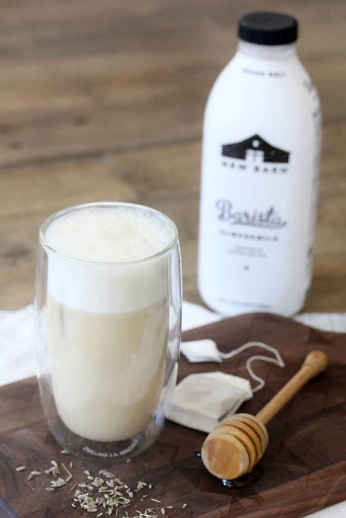 A delicious bedtime latte featuring chamomile, lavender and New Barn Barista almond milk blend from the Whole Smiths. Paleo-friendly and vegan.