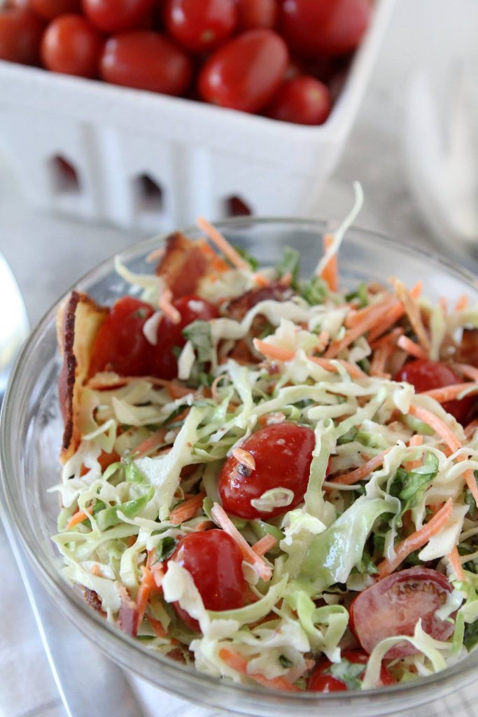 Paleo BLT Cole Slaw. Easy to make Whole30 compliant and perfect for lunches or potlucks.