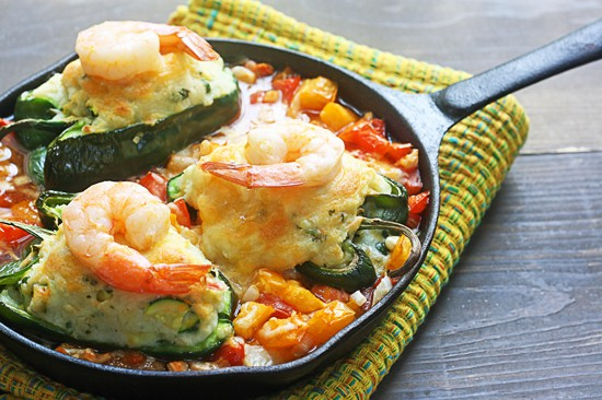 potato stuffed poblanos with shrimp
