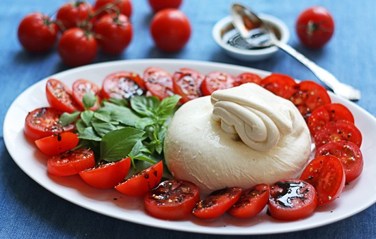 Caprese Salad with Burrata Cheese {family style}