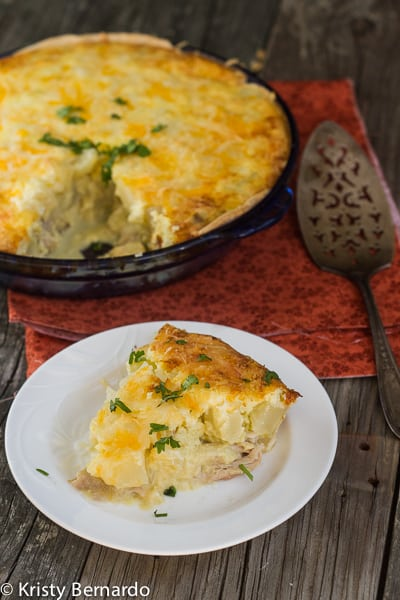 chicken and green chile potato pie