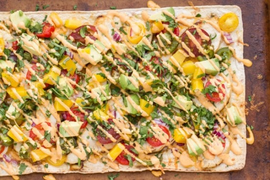 Chicken Flatbread Recipe With Mango & Roasted Jalapeno