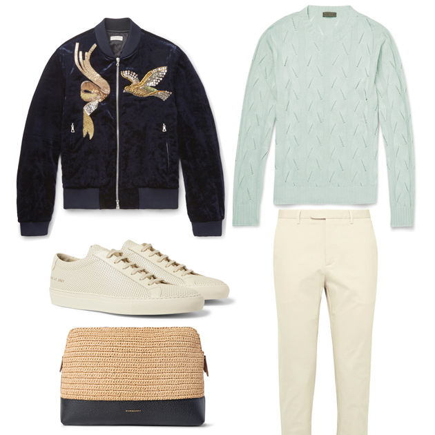 Outfit Selection for men who love to dress stylish, featuring the Dries Van Noten embroidered bomber velvet jacket, sweater by Etro, and a pair of Gucci beige trousers by Alessandro Michele ! Style this look with a raffia/leather document holder by Burberry Prorsum! Shop at Mr Porter