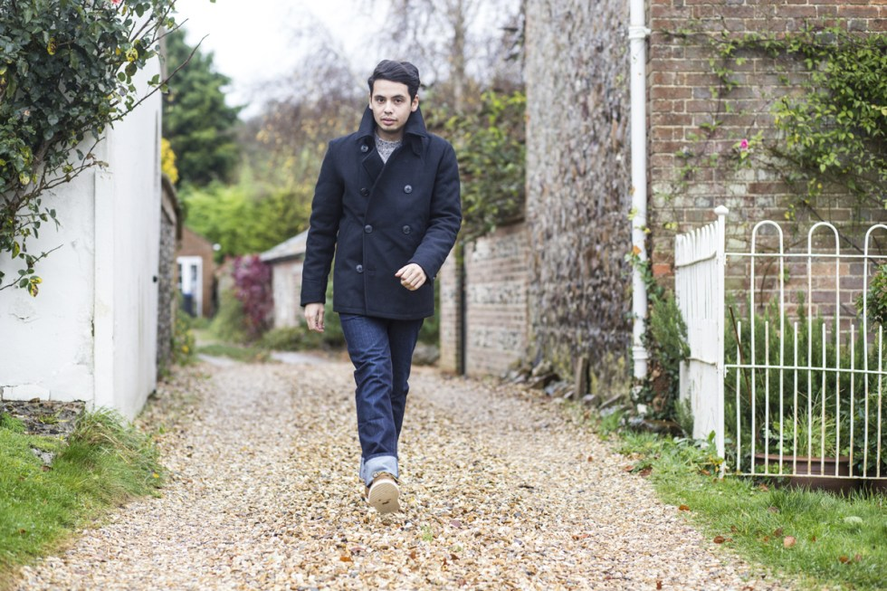 Menswear blogger Ronan Summers styles a navy peacoat by Joules, and walks around a village in the countryside