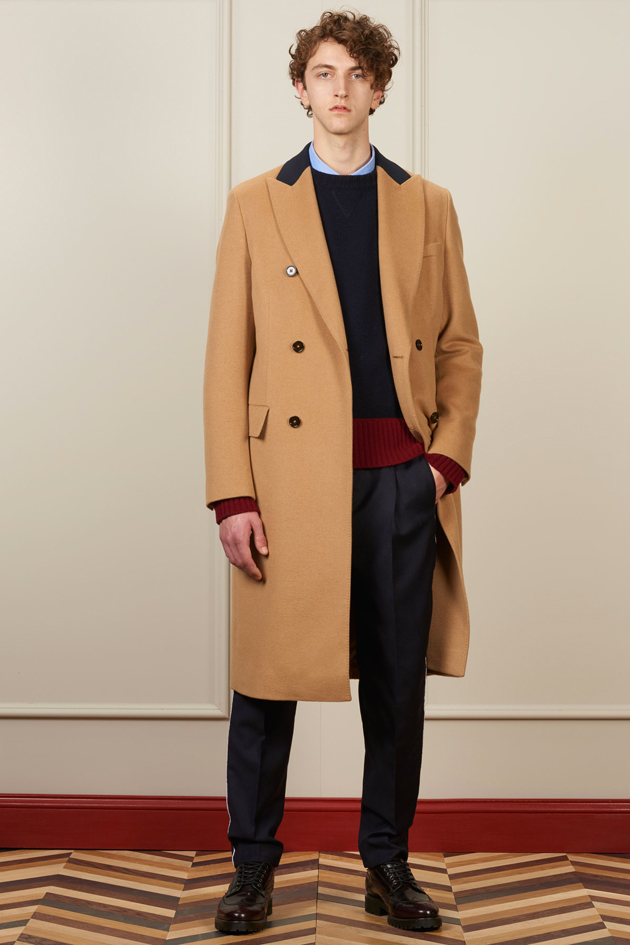 Tommy Hilfiger FW16 camel overcoat, navy sweater and black trousers